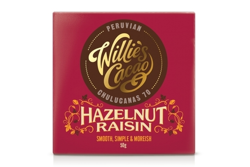 Willies Hazelnut and Raisin Chocolate